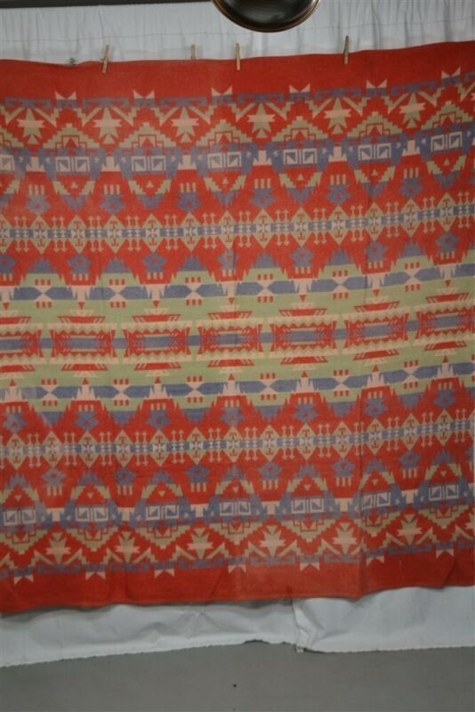 camp blanket lodge Indian design 65x72 in cotton red blue 1940 antique