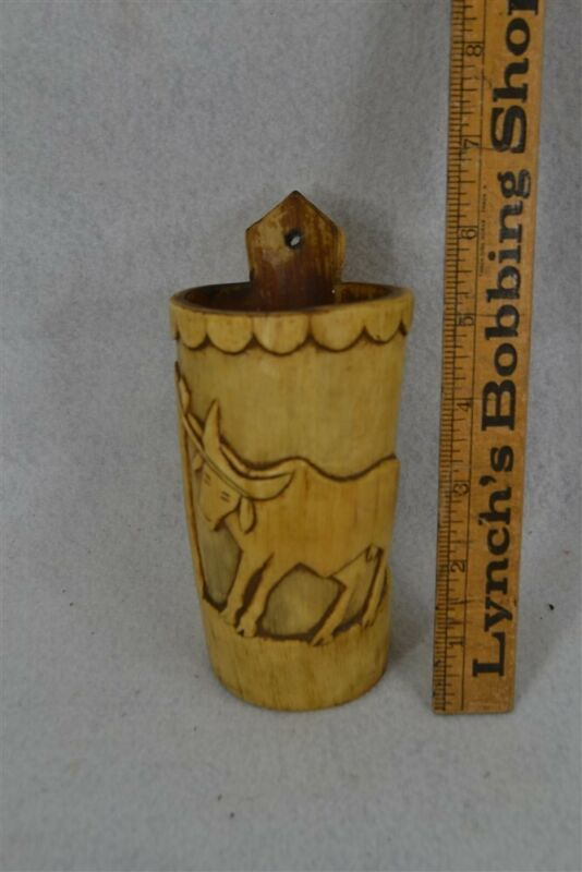 old early primitive cattle cup sculpted 5.5 in tall real original reenactment