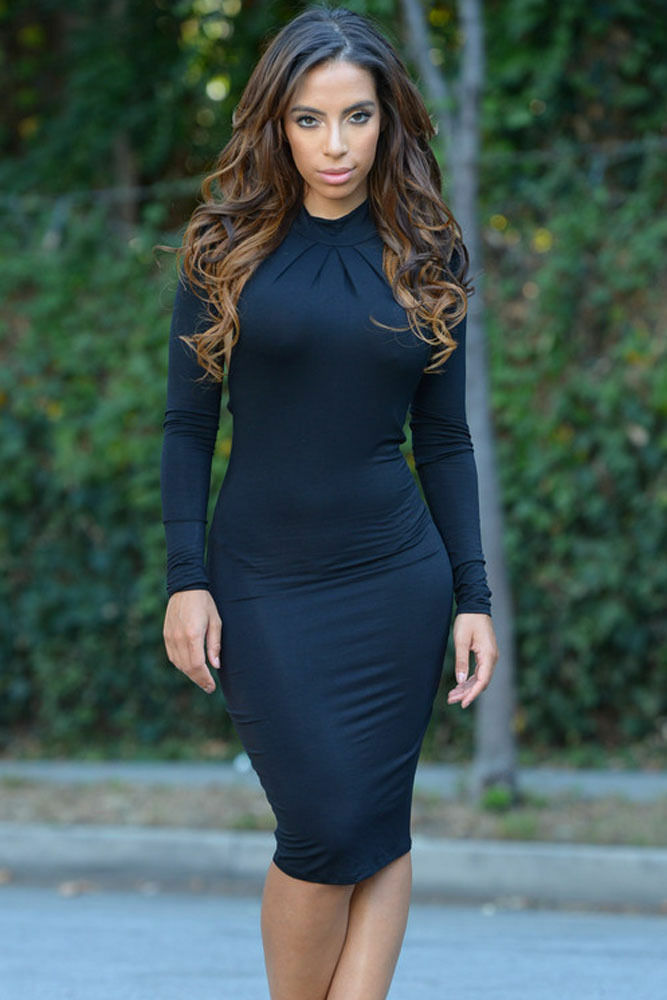 Black Mock Neck Backless Midi Dress