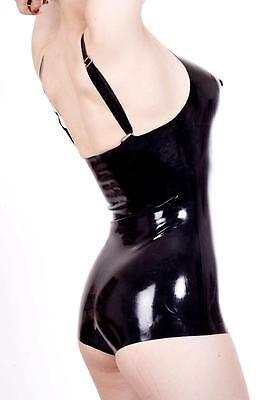 Latex Corset w Lips - Female Leotard - Black Rubber Fetish Gummi