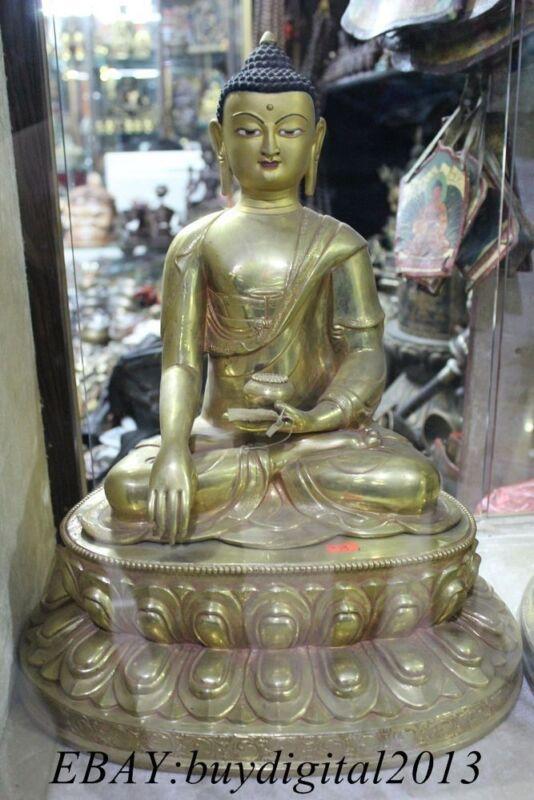 "18"" Tibet Buddhism Amitabha Sakyamuni Buddha Bronze 24K Gold Shakyamuni Statue"