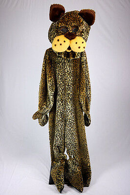 Leopard Mascot Costume Spotted Cat  Faux Fur Jumpsuit Parade Halloween Costume