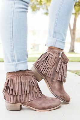 Cuff Flat Boot (New Women's Braided Layered Fringe Cuff Cowgirl Booties Ankle Boot Low Flat)