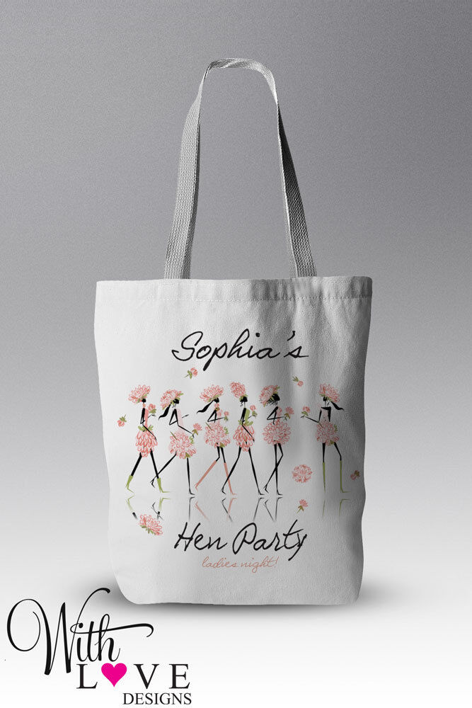 HEN PARTY LADIES NIGHT TOTE SHOPPER SHOPPING BAG PERSONALISED WEDDING GIFT