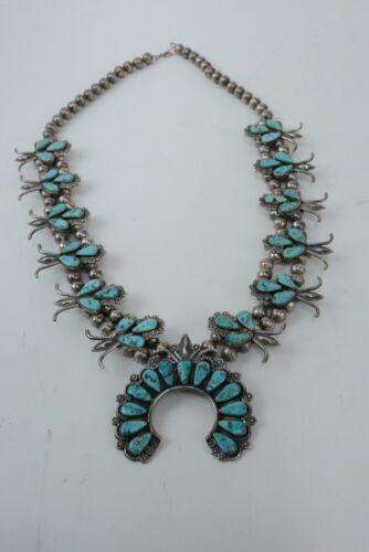 Dan Simplico Navajo Squash Blossom Necklace, Turquoise - Fine Silver Work