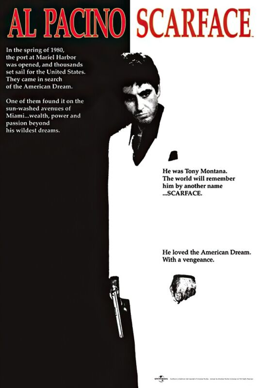 "SCARFACE - MOVIE POSTER (THE AMERICAN DREAM - REGULAR STYLE) (SIZE: 24"" X 36"")"