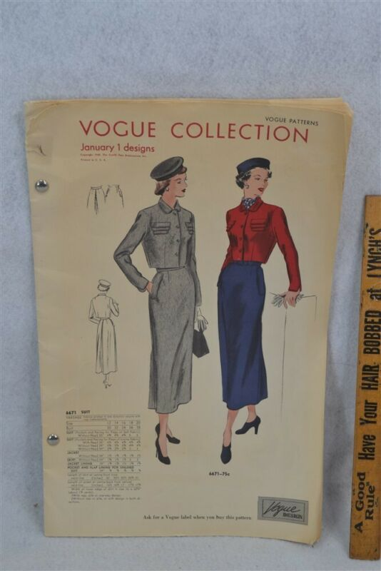 Vogue Pattern book Jan 1948 dresses coats blouses evening 9.5 x 15 in. original