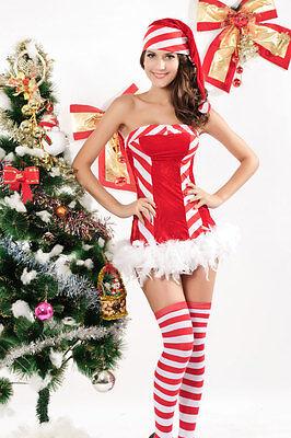 Red Velvet Candy Cane Santa North Pole Christmas - Velvet Holiday Dress Kostüme