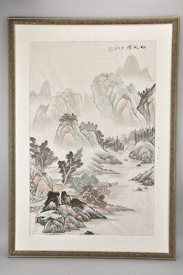 h1t73- Seidenbild mit asiatischer Landschaft, wohl Japan