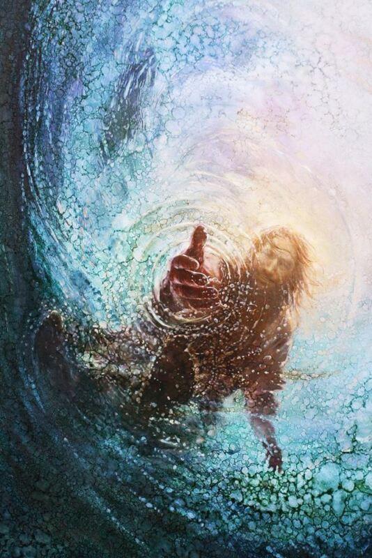 Yongsung Kim CALM AND STARS 10x8 Paper Art Print Jesus Standing on Boat at Night