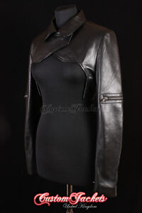 Ladies-SHRUG-Black-GIG-Ghost-In-The-Shell-Real-Leather-Womens-Long-Sleeve-Bolero