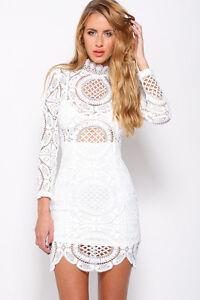 NEW Celeb White Lace  Bodycon Boutique Dress Size 8-10