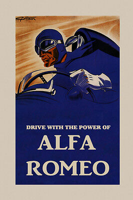 Automobile Car Drive With The Power of Alfa Romeo Vintage Poster Repro FREE - Drive Free Car