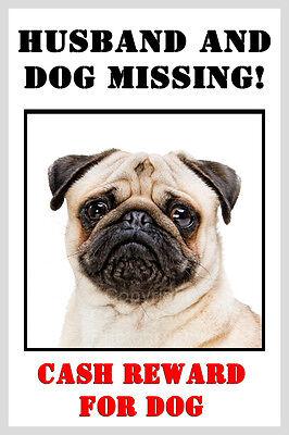Pug Funny Fridge Magnet - Husband and Dog missing christmas birthday gift new