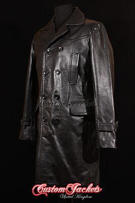 Men's LONG U-BOAT Black German KRIEGSMARINE Cowhide Leather Jacket Coat