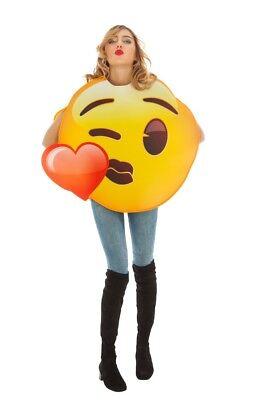 Kostüm Emoji Kiss 1 tlg. Heart Herz Kuss Karneval - Weibliche Kiss Kostüm