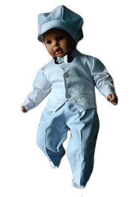 Festanzug Taufanzug Baby Junge Kinder Hochzeit Anzüge 5tlg , Weiß-Blau K7