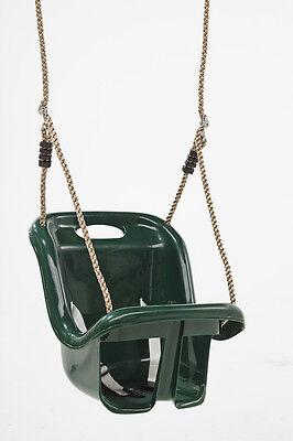 DARK GREEN EARLY FUN GARDEN PLASTIC BABY SWING SEAT W/HIGH BACKREST-NEW-FREEPOST