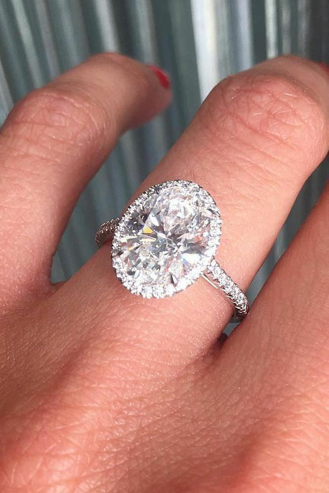 1.50 Ct. Oval Cut Halo Natural Diamond Engagement Ring E, SI1 14k WG GIA Cert