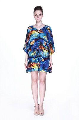 Poncho Dress Luau Tropical Cruise Hawaiian Tie Beach Plus Size Blue Sunset