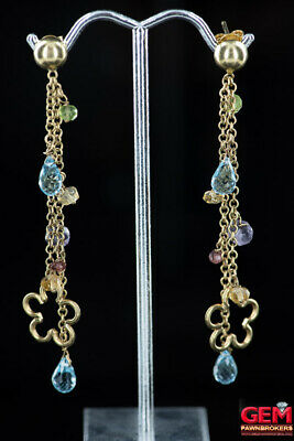 Floral Drop Multi Color Quartz Gemstone 14K 585 Yellow Gold Dangle Earrings Floral Gemstone Earrings