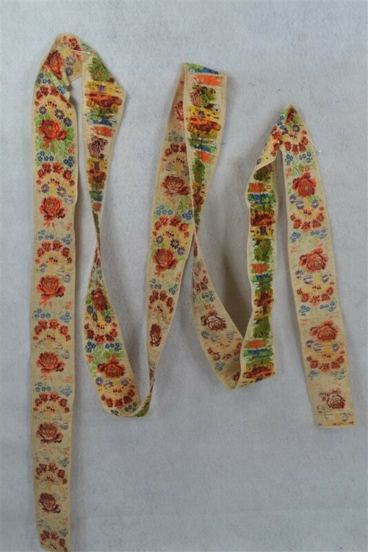 early silk flower woven ribbon 2.5 x 136 in continuous millinery 19thc original