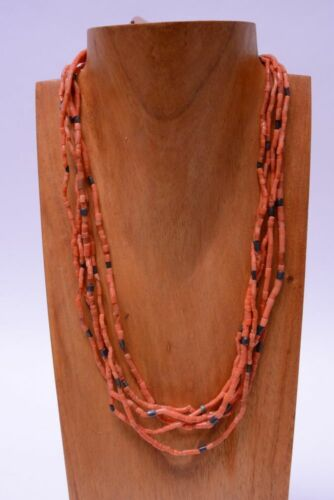 Antique Navajo 5 strand Coral and silver bead necklace; mid 20th century
