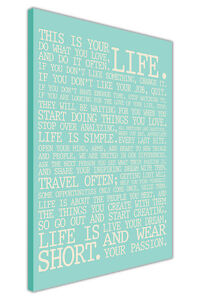 LIFE MANIFESTO QUOTE CANVAS WALL ART PICTURES
