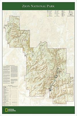 NEW National Geographic Zion Nat. Park Wall Map 24