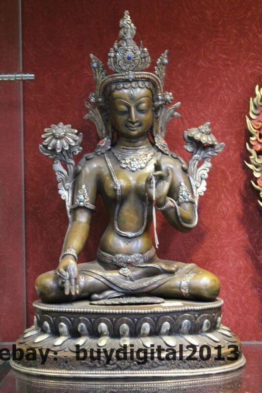 "15"" Tibet bronze Silver Buddhism White Tara Kwan-yin Guanyin Bodhisattva Statue"