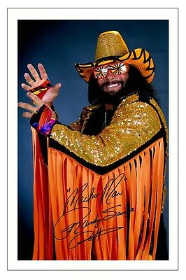 MACHO MAN RANDY SAVAGE WWE WRESTLING SIGNED PHOTO PRINT AUTOGRAPH