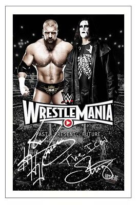 TRIPLE H & STING WWE WRESTLING SIGNED PHOTO PRINT AUTOGRAPH WRESTLEMANIA