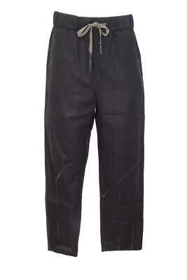 NWT FIRST AID TO THE INJURED Men's GRATIAN Black LINEN PANTS 2 (US S)