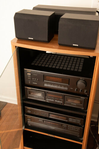 ONKYO Stereo System, Amplifier, CD Player, Casette Tape Deck with Stand/Rack