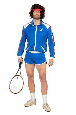 80er Jahre Tennisstar Retro Trainingsanzug Tennisspieler 80`s Wimbledon (Tennis Spieler Kostüm)