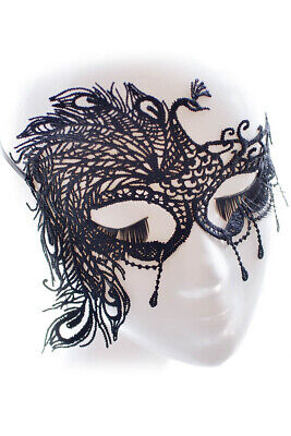 Black Floral Lace Halloween Costume 50 Shades Peacock Feather One Side Eye Mask - Black Peacock Halloween Costumes