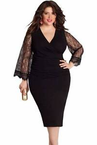 Black Eyelash Flared Sleeves Party Dress Size 16, 18 Ascot Brisbane North East Preview