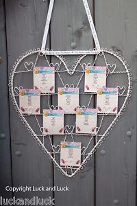 Wedding Table Plan Cream Metal Vintage Shabby Style Heart Card / Photo Holder L