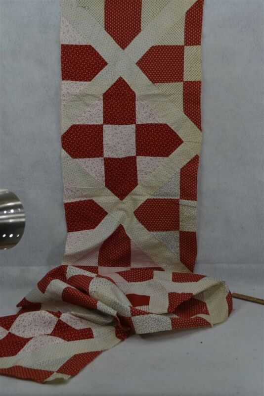 old early quilt piece red white calico patchwork never used 14 x 94 19th c 1860