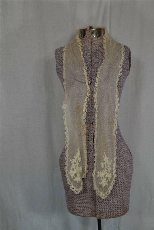 antique lace net lappet neck tie Victorian white original 19th c