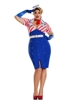 Pin Up Sailor Costume Plus Size Womens - Plus Size Pin Up Costume
