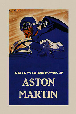 Automobile Car Drive With The Power of Aston Martin Vintage Poster Repo FREE - Drive Free Car