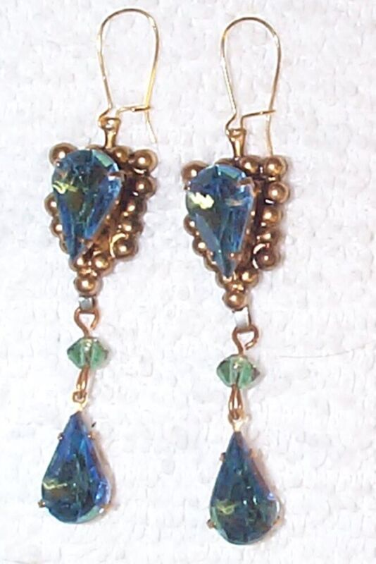 Vintage blue to green givre glass jewels & brass drop earrings 2 inches long