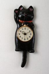 Maneki Neco Black cat wall pendulum tail clock SETO ware hand made in Japan F/S