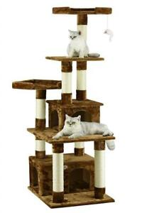 NEW Go Pet Club F205 67-Inch Cat Tree Furniture Condo House, Brown Condtion: New, Brown