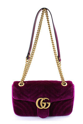 Gucci Womens Velvet Marmont Gold Tone Chain Link Shoulder Handbag Pink