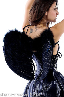 Damen Schwarz Echte Feder Halloween Dunkel Fallen Engel Flügel Maskenkostüm