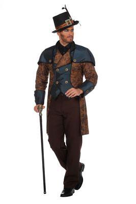 Steampunk Herren Anzug Braun/Blau Gehrock Hose Kostüm viktorianisch (Steampunk Herren Kostüme)