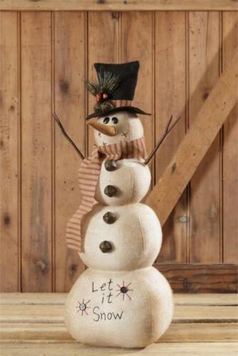 Snowman Let It Snow Black Top Hat Rustic Bells Primitive Christmas Fabric Doll