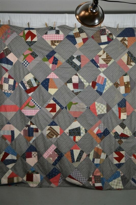"""patchwork quilt top early 79 x 84"""" gray brown prints antique 19th c vg"""